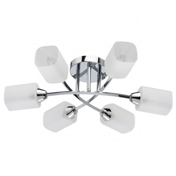 Deckenleuchte, Chrome/Metal White Matt/Glass 6*60W E14, 638015406
