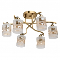Deckenleuchte, Brass+Chrome/Metal Champagne+Frosted/Glass 6*60W E27, 638015606