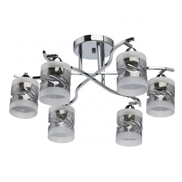 Deckenleuchte, Chrome/Metal Smoky Gray+Frosted/Glass 6*60W E27, 638015706