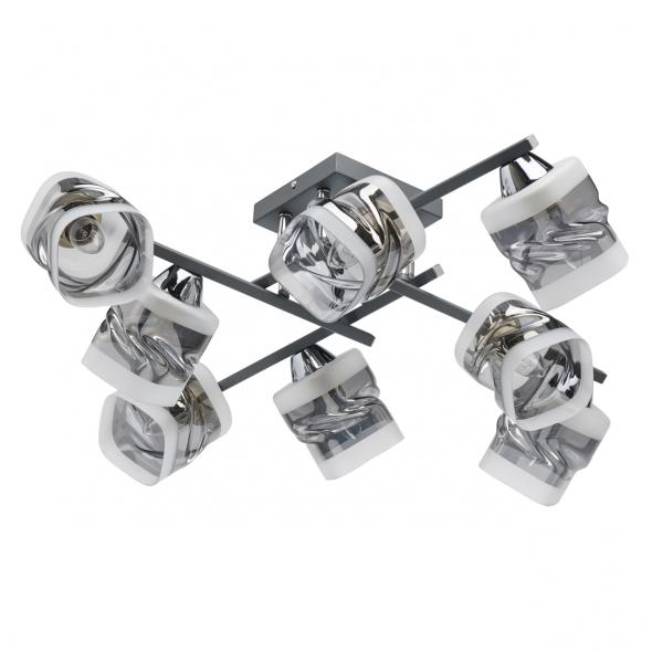 Deckenleuchte, Gray Chrome/Metal Smoky Gray+Frosted/Glass 8*60W E27, 638016008