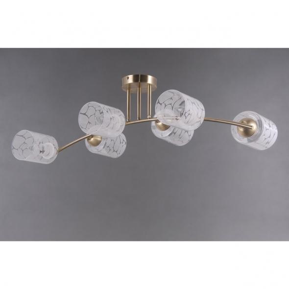 Deckenleuchte, Antique Brass/Metal White/Glass 6*40W E27, 638018106