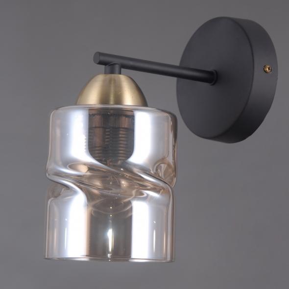 Wandleuchte, Black+Antique Brass/Metal Golden Teak/Glass 1*40W E27, 638027601