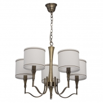 Hängeleuchte, Brass Color / Metal Fabric Cream+Gold /Color Lampshade 5*60W E14 2700 –Ö, 667011005