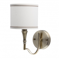 Wandleuchte, Brass Color / Metal Fabric Cream+Gold /Color Lampshade 1*60W E14 2700 –Ö, 667021201