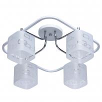 Deckenleuchte, Weiss+Chromfarben/Metall Glas 4*60W E14, 673010304