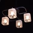 Deckenleuchte, Kaffe+Chromfarben/Metall Glas 4*60W E14, 673010604
