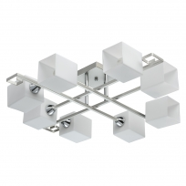 Deckenleuchte, Pear Silver+Chrome/Metal White/Glass 8*60W E14, 673013908