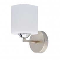 Wandleuchte, Pearl Gold+Chrome/Metall Weiß/Glas 1*60W E14, 673023801