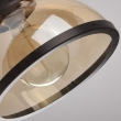 Hängeleuchte, Schwarz+Gold/Metall Gold Teakfarbe/Glas 1*40W E27 2700K, 682012001