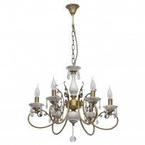 Hängeleuchte, Antique Brass/Metal+Brass Crystal/Ceramics 6*60W E14, 683012406
