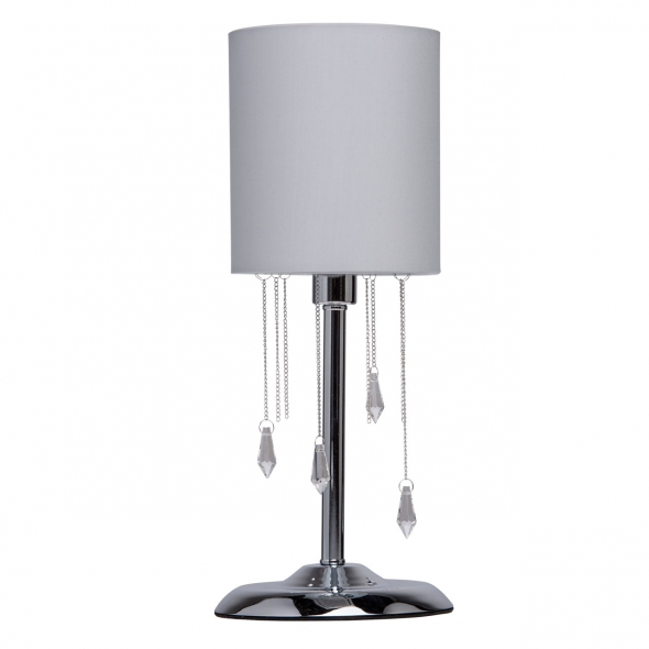 Tischleuchte, Chrom/Metall Grau/Glasklar/Kristall 1*40W E14 2700K, 684030501
