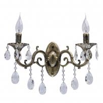 Wandleuchte, Antique Brass /Metal Transparent /Crystal 2*40W E14 2700K, 685020402