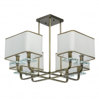 Hängeleuchte, Antique Brass /Metal White/Fabric Transparent/Crystal 8*40W E14 2700K Ip20, 686010108