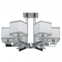 Hängeleuchte, Chrome /Metal White/Fabric Transparent/Crystal 6*40W E14 2700K Ip20, 686010306