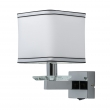 Wandleuchte, Chrome /Metal White /Fabric Transparent/Crystal 1*40W E14 2700K Ip20 Switch, 686020401