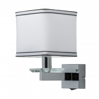 Wandleuchte, Chrome /Metal White /Fabric Transparent/Crystal 1*40W E14 2700K Ip20 Switch, 686020401