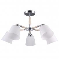Deckenleuchte, Chrome+Wood/Metall White/Glass 5*40W E27, 693012205