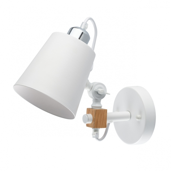 Wandleuchte, White/Metall Oak/Wood 1*8W E27 2700K Energy Saving Bulbs, 693021301