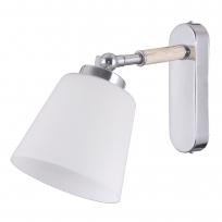 Wandleuchte, Chrome+Wood/Metall White/Glass 1*40W E27, 693022101