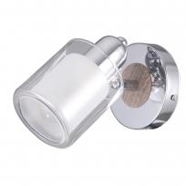 Wandleuchte, Chrome+Wood/Metall White+Transparent/Glass 1*40W E14, 693022401