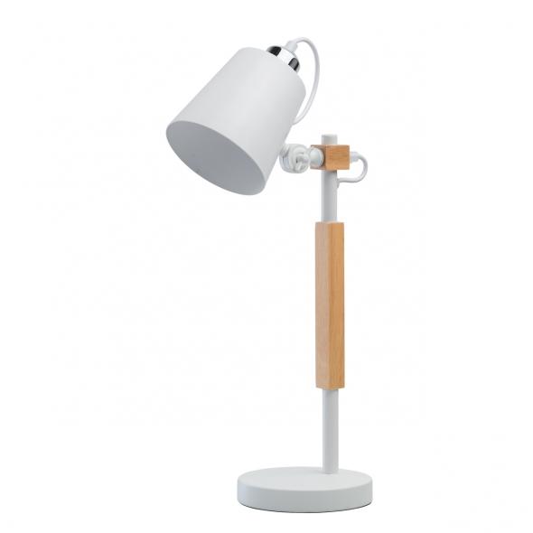 Tischleuchte, White/Metall Oak/Wood 1*8W E27 2700K Energy Saving Bulbs, 693031401