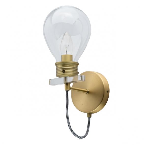 Wandleuchte, Antique Brass/Metal Transparent/Glass Transparent/Acrylic 1*5W E14, 699020501