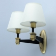 Wandleuchte, Antique Brass+Black/Metal White/Fabric 2*40W E14, 700023202