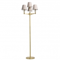 Stehleuchte, Antique Brass/Metal+Aluminum Transparent/Glass Gray/Fabric 4*40W E14, 700042504