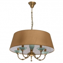 Hängeleuchte, Honey Brass/Metal Green/Ceramics Light Brown/Fabric 5*40W E14, 713010205