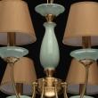 Hängeleuchte, Honigfarbende Lampenschirme/Metall Grün/Ceramics Light Braun/Stoff 8*40W E14, 713010308