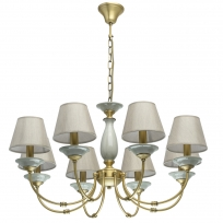 Hängeleuchte, Antique Brass/Metal Grey/Ceramics Grey/Fabric 8*40W E14, 713010608