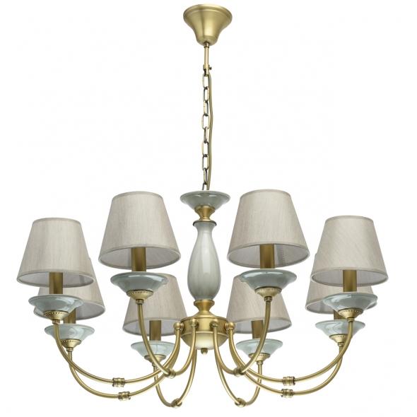 Hängeleuchte, Antique Brass/Metal Grey/Ceramics Grey/Fabric 8*40W E14, 713010608