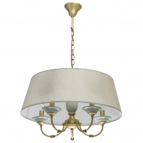 Hängeleuchte, Antique Brass/Metal Grey/Ceramics Grey/Fabric 5*40W E14, 713010705