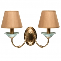 Wandleuchte, Honey Brass/Metal Green/Ceramics Light Brown/Fabric 2*40W E14, 713020102