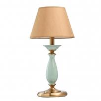 Tischleuchte, Honey Brass/Metal Green/Ceramics Light Brown/Fabric 1*40W E14, 713030401