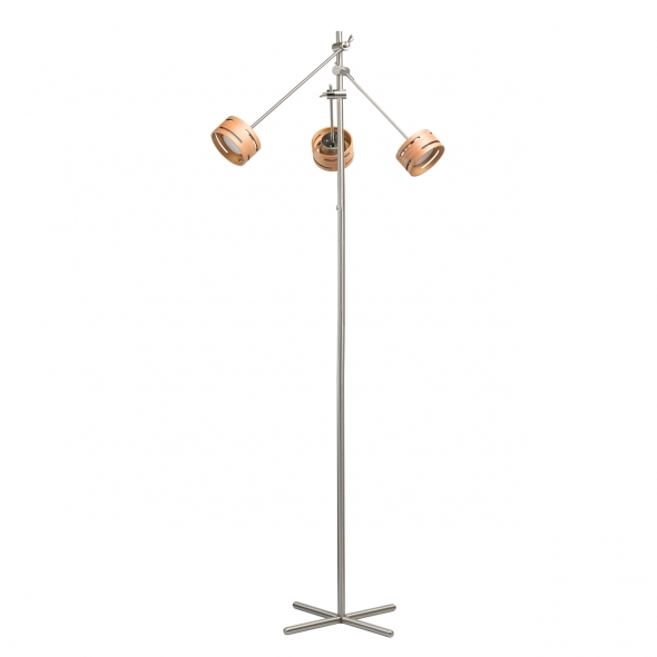 Stehleuchte, Satin Nickel/Metal+Wood Frost/Acrylic 3*5W Led 1500 Lm 3000K Leds Installed Dimmer, 725040703
