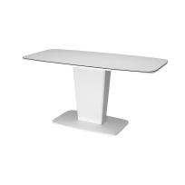 """Раздвижной стол """"Домино"""" белый со стеклянным покрытием"""