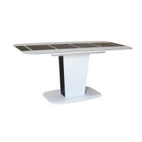 """Раздвижной стол """"Домино"""" черно-белый глянцевый со стеклянным покрытием"""