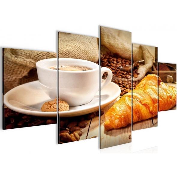 """Картина 5-и предметная """"Кофе с круосаном"""" 150х75 / 200х100 см"""