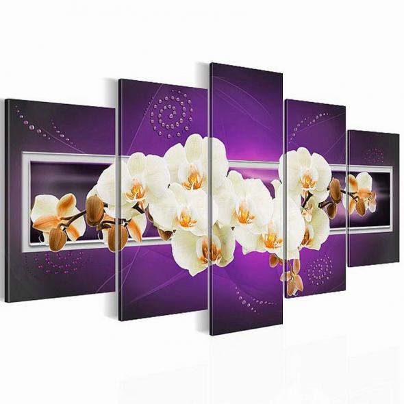 """Картина 5-и предметная """"Орхидеи лиловые"""" 150х75 / 200х100 см"""