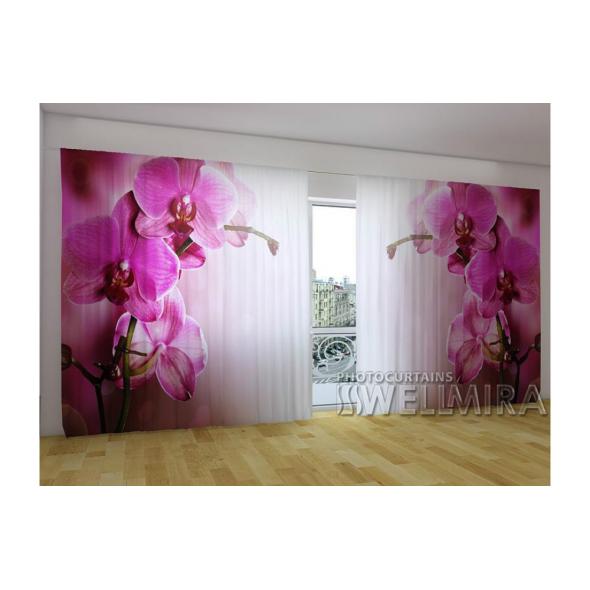 3-D панорамные фотошторы - Пурпурная орхидея